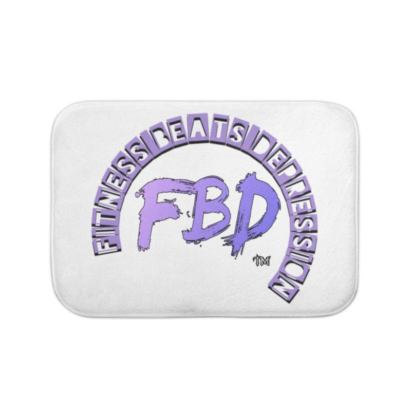 FITNESS BEATS DEPRESSION LAVENDER Home Bath Mat by Faithful & Focused Store