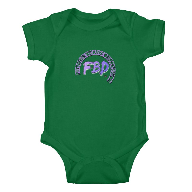 FITNESS BEATS DEPRESSION LAVENDER Kids Baby Bodysuit by Faithful & Focused Store