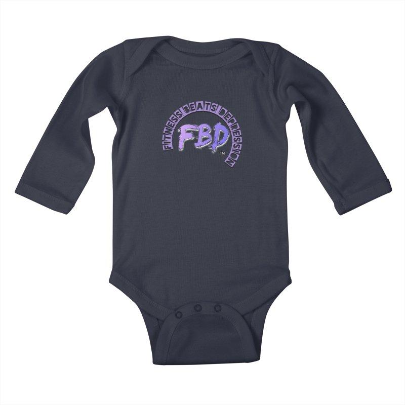 FITNESS BEATS DEPRESSION LAVENDER Kids Baby Longsleeve Bodysuit by Faithful & Focused Store