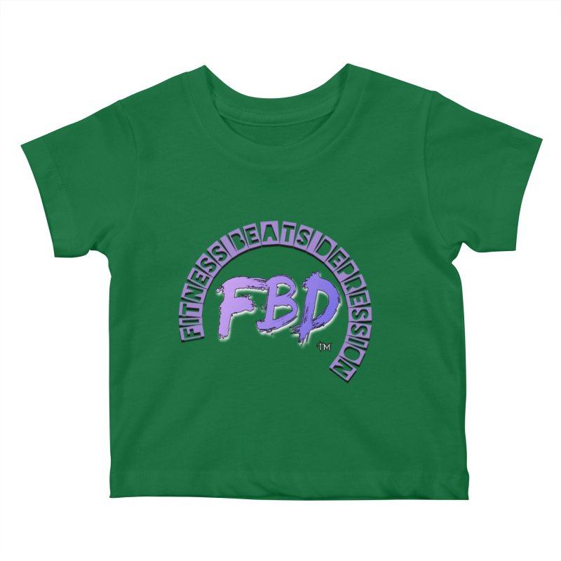 FITNESS BEATS DEPRESSION LAVENDER Kids Baby T-Shirt by Faithful & Focused Store
