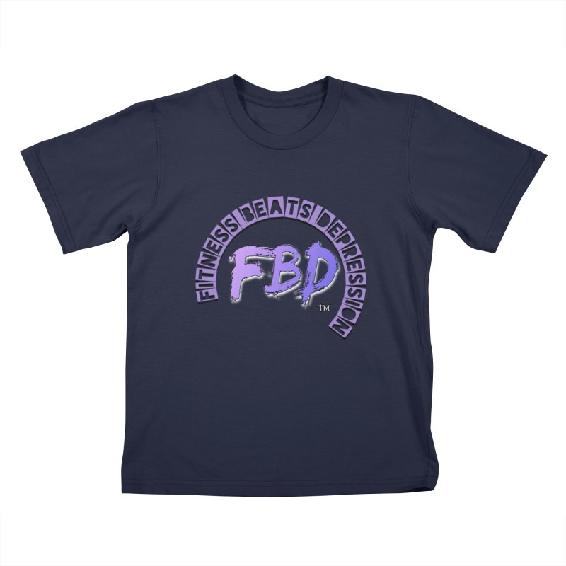 FITNESS BEATS DEPRESSION LAVENDER Kids T-Shirt by Faithful & Focused Store