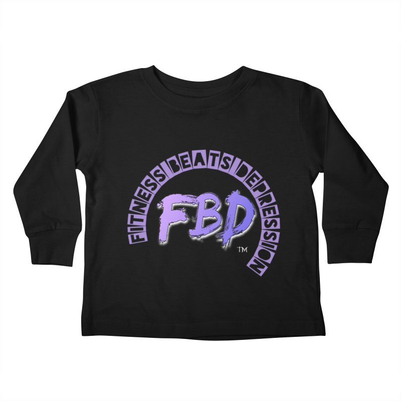 FITNESS BEATS DEPRESSION LAVENDER Kids Toddler Longsleeve T-Shirt by Faithful & Focused Store