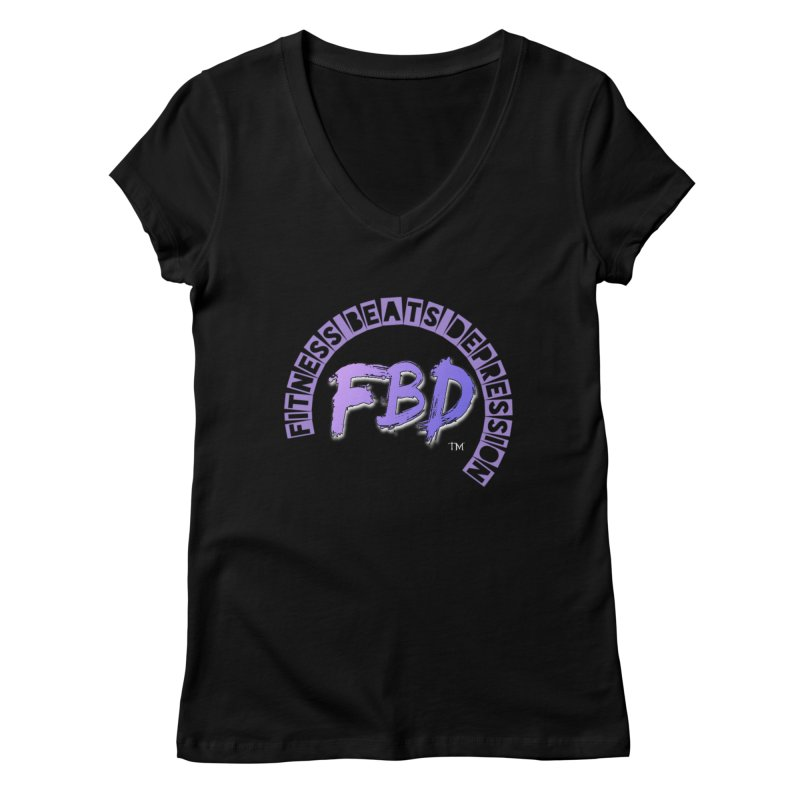 FITNESS BEATS DEPRESSION LAVENDER Women's V-Neck by Faithful & Focused Store