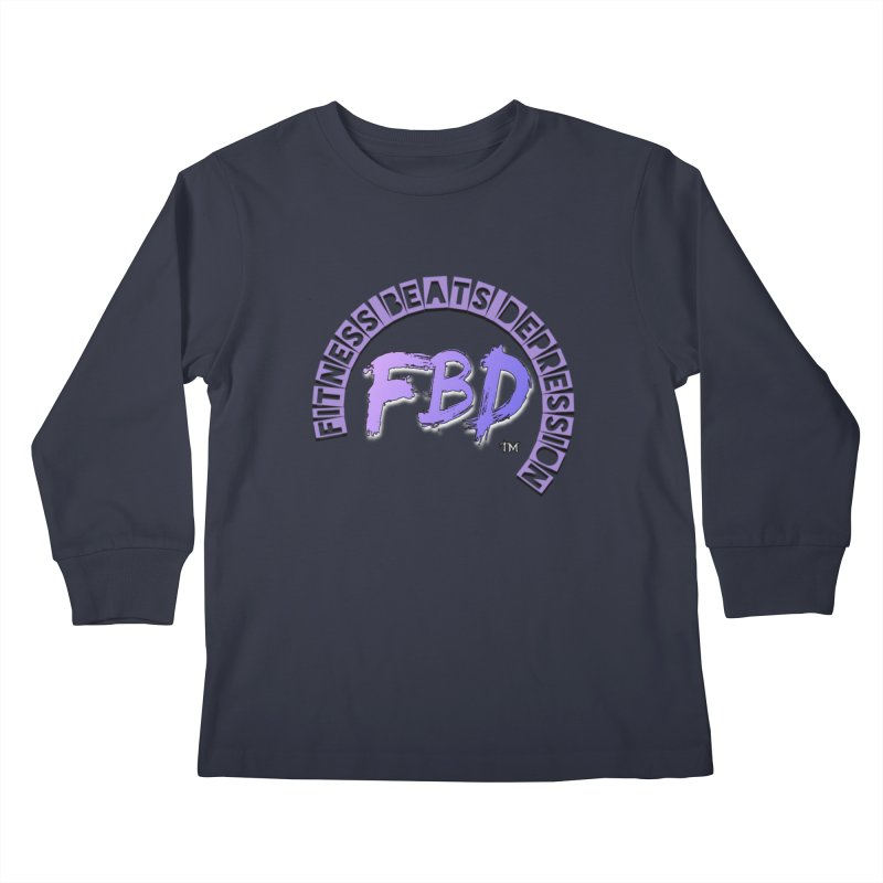 FITNESS BEATS DEPRESSION LAVENDER Kids Longsleeve T-Shirt by Faithful & Focused Store