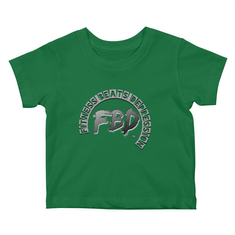FITNESS BEATS DEPRESSION GREY Kids Baby T-Shirt by Faithful & Focused Store