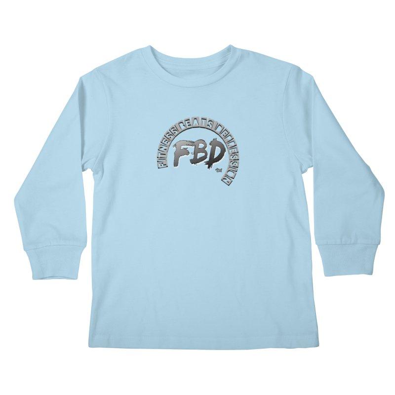 FITNESS BEATS DEPRESSION GREY Kids Longsleeve T-Shirt by Faithful & Focused Store