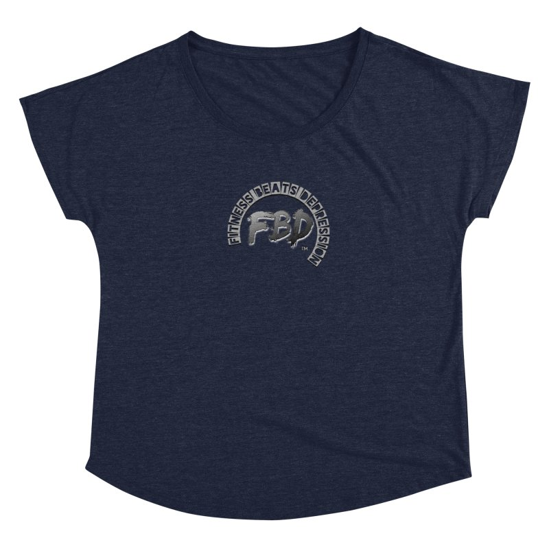 FITNESS BEATS DEPRESSION GREY Women's Scoop Neck by Faithful & Focused Store