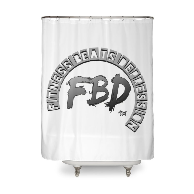 FITNESS BEATS DEPRESSION GREY Home Shower Curtain by Faithful & Focused Store