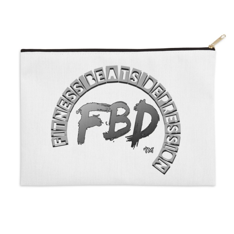 FITNESS BEATS DEPRESSION GREY Accessories Zip Pouch by Faithful & Focused Store