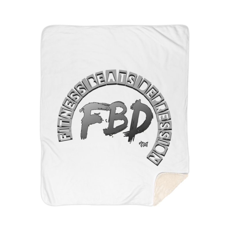 FITNESS BEATS DEPRESSION GREY Home Blanket by Faithful & Focused Store