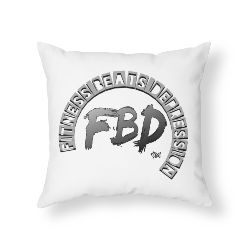 FITNESS BEATS DEPRESSION GREY Home Throw Pillow by Faithful & Focused Store