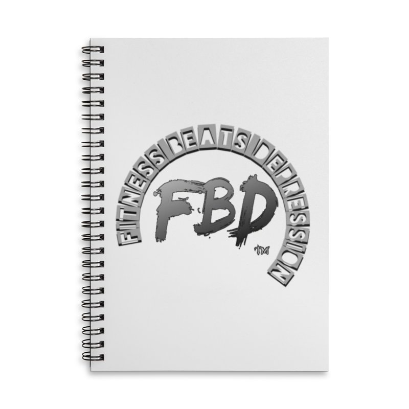 FITNESS BEATS DEPRESSION GREY Accessories Notebook by Faithful & Focused Store