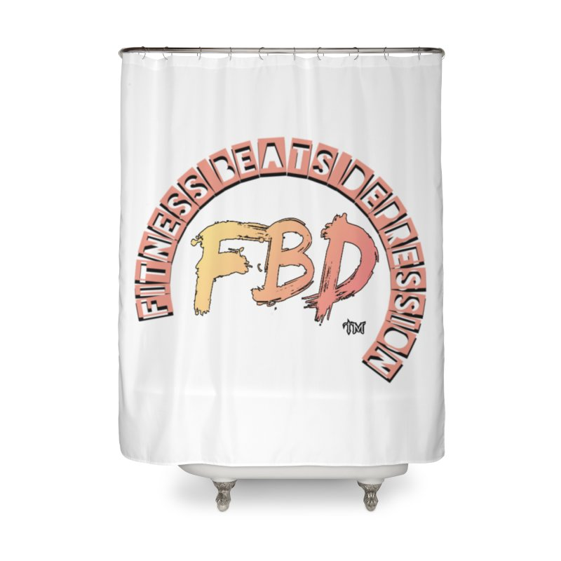 FITNESS BEATS DEPRESSION- CORAL Home Shower Curtain by Faithful & Focused Store