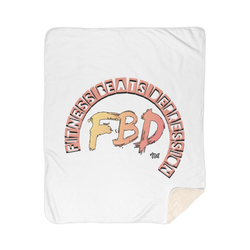 FITNESS BEATS DEPRESSION- CORAL Home Blanket by Faithful & Focused Store