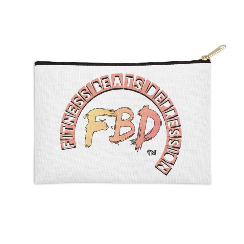FITNESS BEATS DEPRESSION- CORAL Accessories Zip Pouch by Faithful & Focused Store