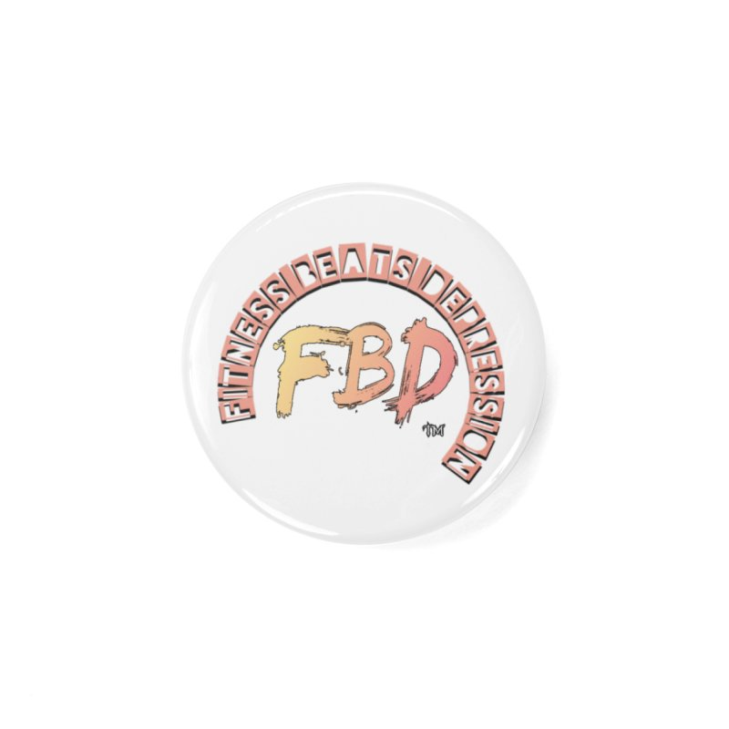 FITNESS BEATS DEPRESSION- CORAL Accessories Button by Faithful & Focused Store