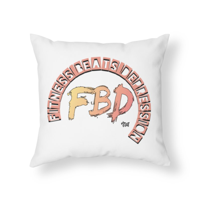 FITNESS BEATS DEPRESSION- CORAL Home Throw Pillow by Faithful & Focused Store