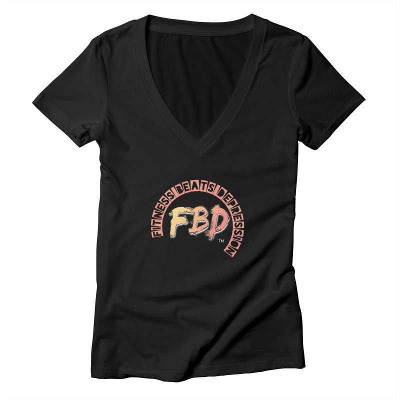 FITNESS BEATS DEPRESSION- CORAL Women's V-Neck by Faithful & Focused Store
