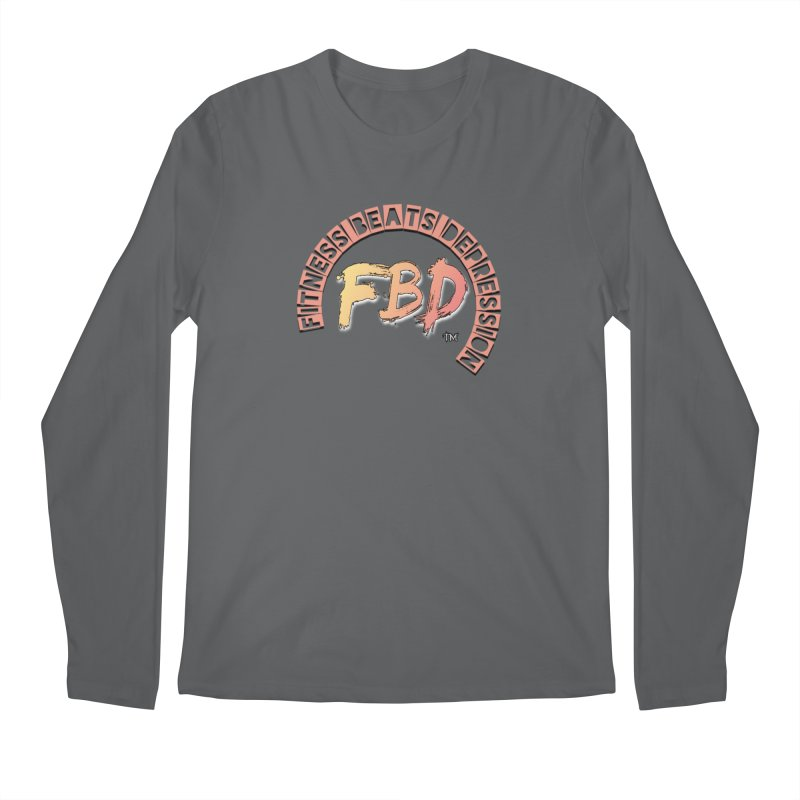 FITNESS BEATS DEPRESSION- CORAL Men's Longsleeve T-Shirt by Faithful & Focused Store