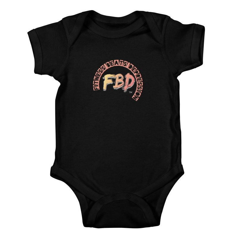 FITNESS BEATS DEPRESSION- CORAL Kids Baby Bodysuit by Faithful & Focused Store