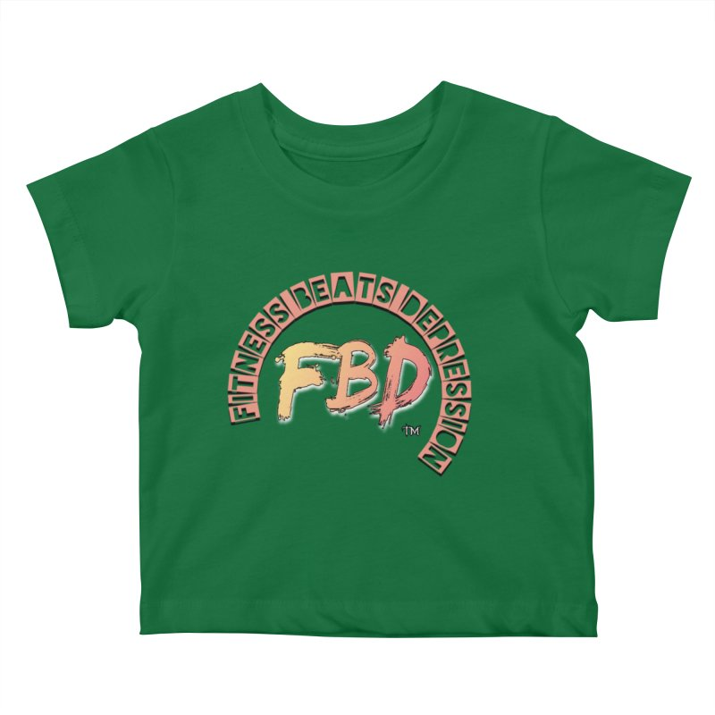 FITNESS BEATS DEPRESSION- CORAL Kids Baby T-Shirt by Faithful & Focused Store