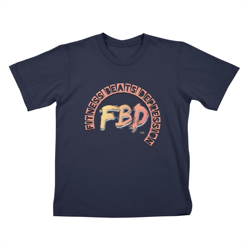 FITNESS BEATS DEPRESSION- CORAL Kids T-Shirt by Faithful & Focused Store