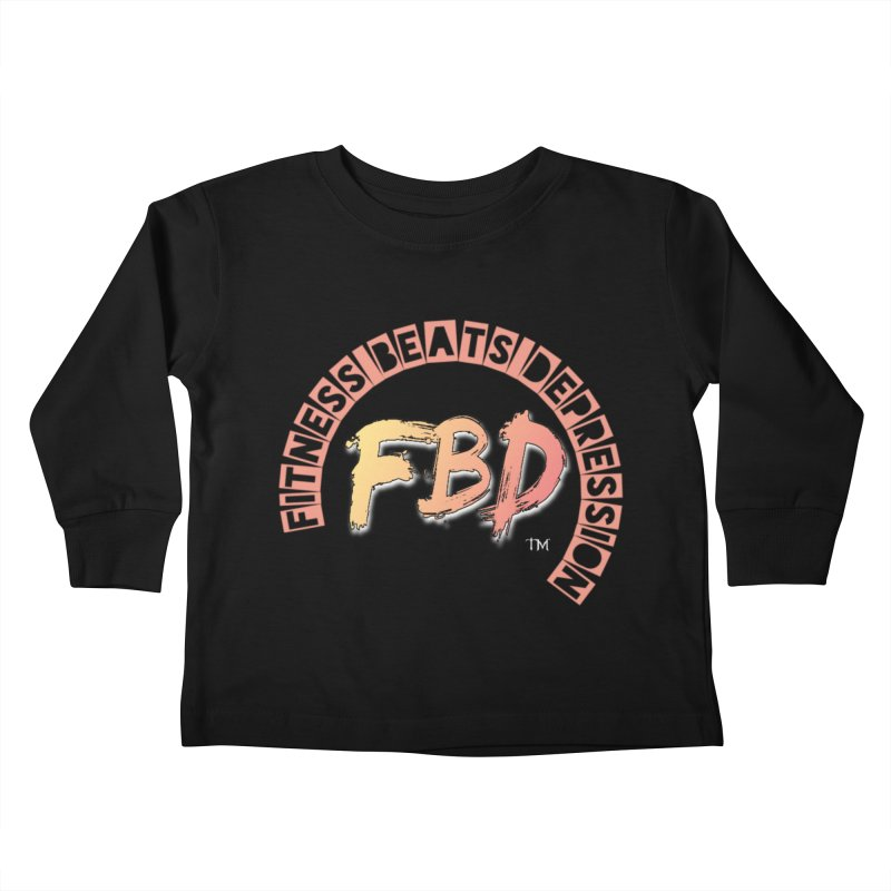 FITNESS BEATS DEPRESSION- CORAL Kids Toddler Longsleeve T-Shirt by Faithful & Focused Store