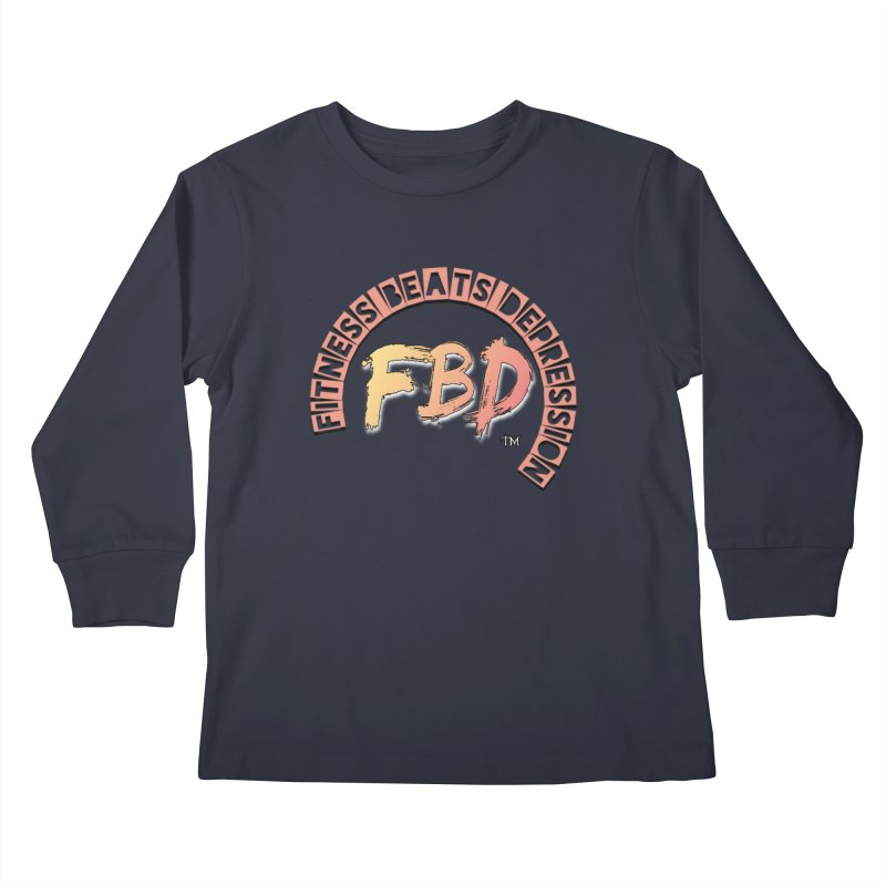 FITNESS BEATS DEPRESSION- CORAL Kids Longsleeve T-Shirt by Faithful & Focused Store
