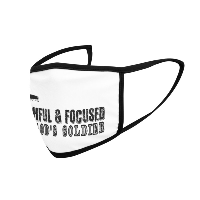 GODS SOLDIER- BLACK AND WHITE LOGO Accessories Face Mask by Faithful & Focused Store
