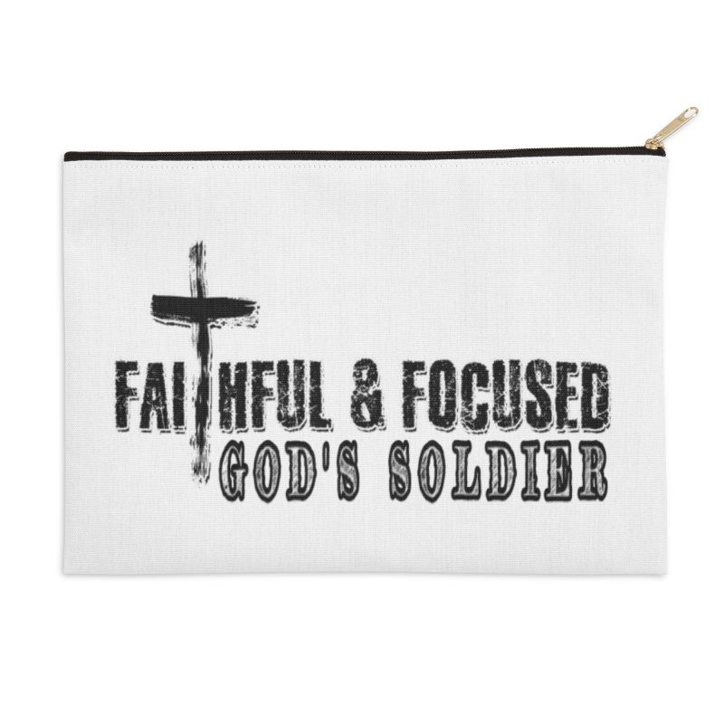GODS SOLDIER- BLACK AND WHITE LOGO Accessories Zip Pouch by Faithful & Focused Store