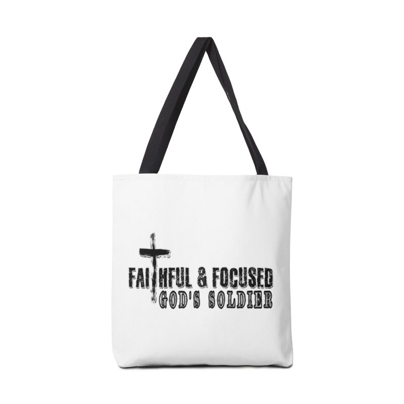 GODS SOLDIER- BLACK AND WHITE LOGO Accessories Bag by Faithful & Focused Store
