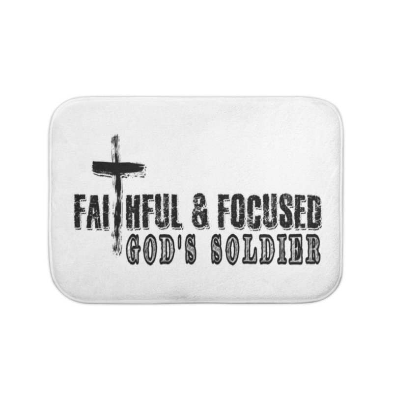 GODS SOLDIER- BLACK AND WHITE LOGO Home Bath Mat by Faithful & Focused Store