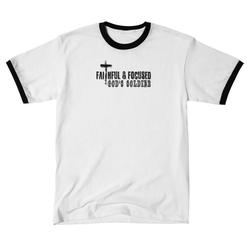 GODS SOLDIER- BLACK AND WHITE LOGO Women's T-Shirt by Faithful & Focused Store