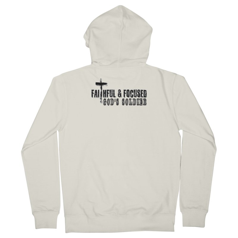 GODS SOLDIER- BLACK AND WHITE LOGO Men's Zip-Up Hoody by Faithful & Focused Store