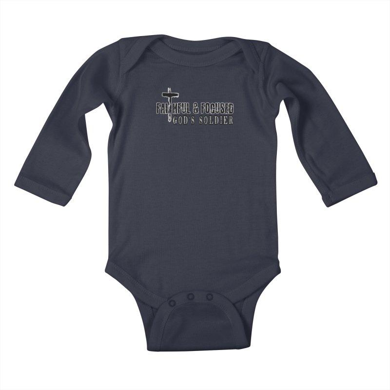 GODS SOLDIER- BLACK AND WHITE LOGO Kids Baby Longsleeve Bodysuit by Faithful & Focused Store