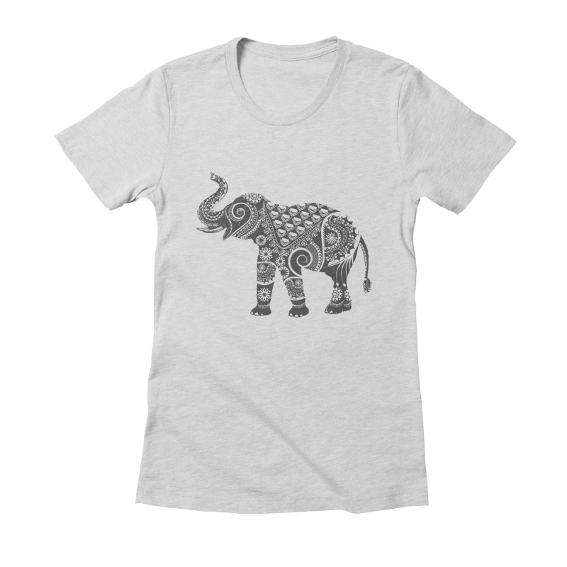 Ornate Indian Elephant Women's Fitted T-Shirt by Famenxt