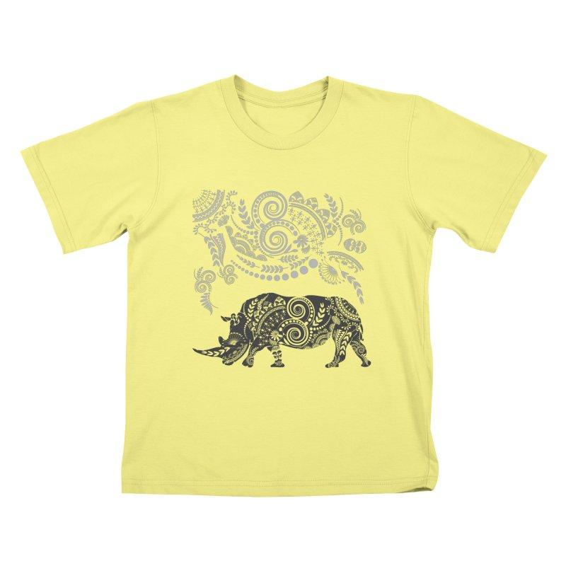 Ornamental Rhino Kids T-shirt by Famenxt