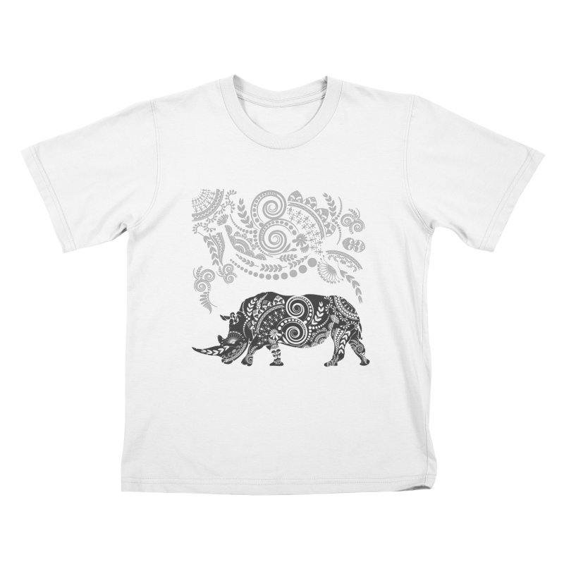 Ornamental Rhino Kids T-Shirt by Famenxt