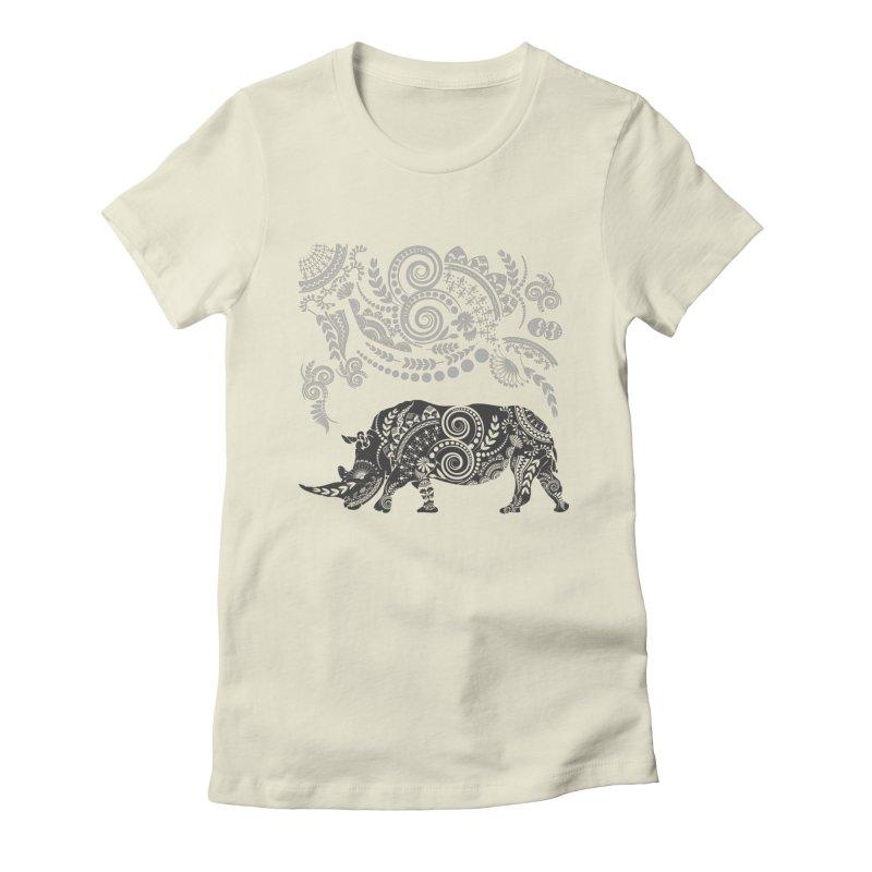 Ornamental Rhino Women's Fitted T-Shirt by Famenxt
