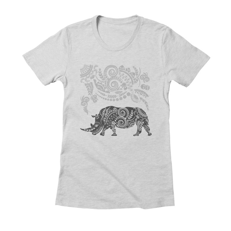 Ornamental Rhino Women's Fitted T-Shirt by Famenxt