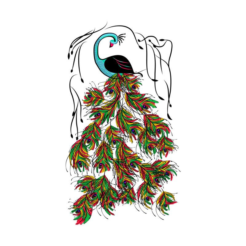 Vibrant Jungle Peacock Kids T-Shirt by Famenxt