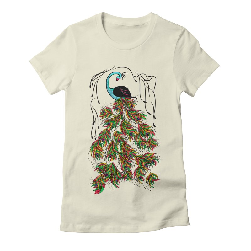 Vibrant Jungle Peacock Women's Fitted T-Shirt by Famenxt