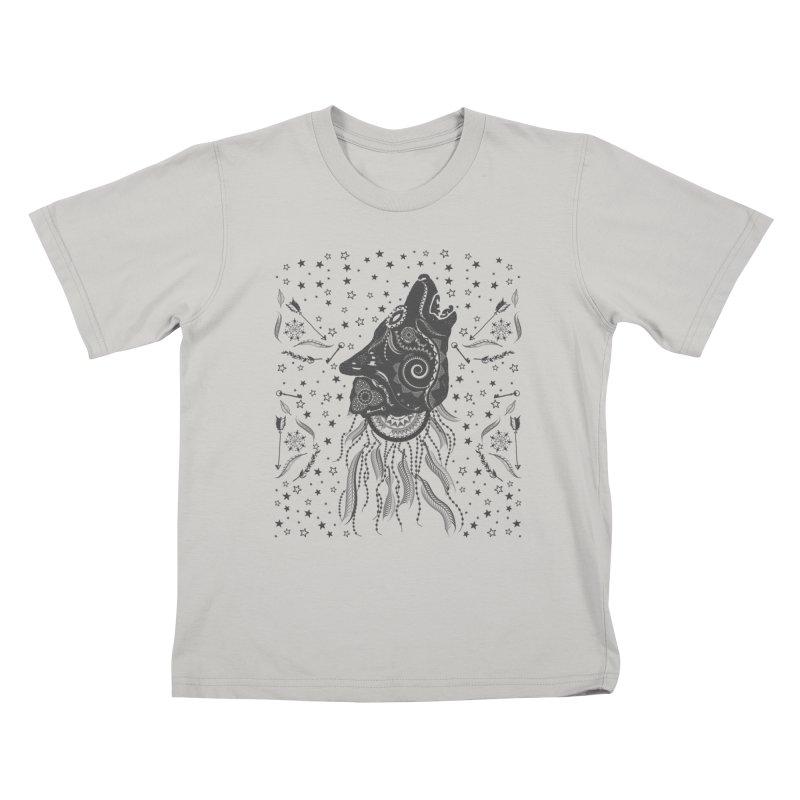 Bohemian Wolf Kids T-Shirt by Famenxt