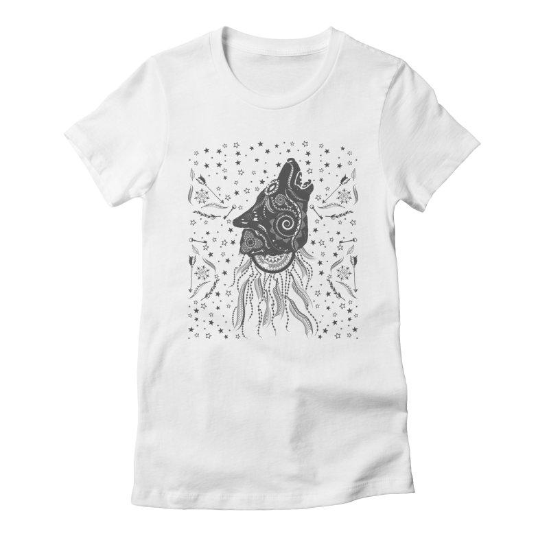 Bohemian Wolf Women's Fitted T-Shirt by Famenxt