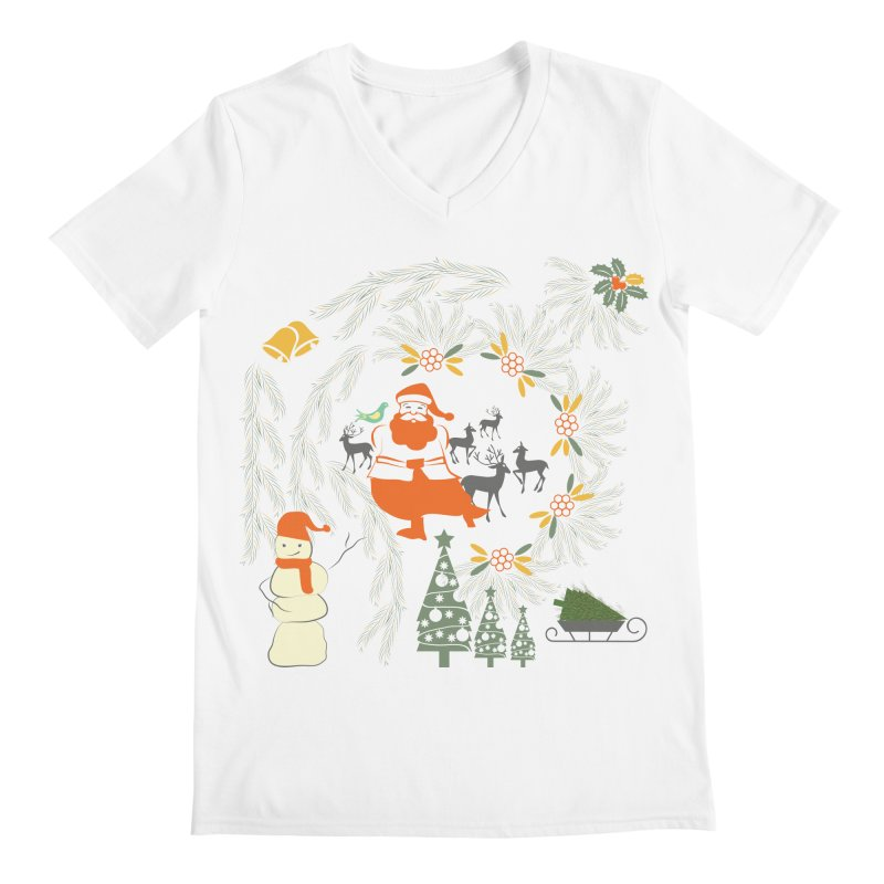 Joyous Christmas Men's Regular V-Neck by Famenxt