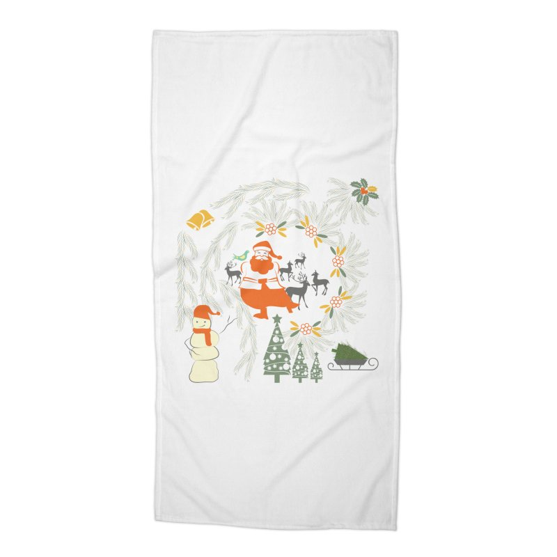 Joyous Christmas Accessories Beach Towel by Famenxt