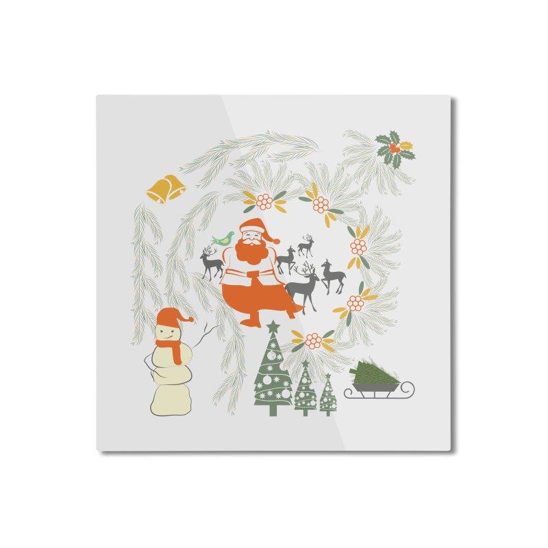 Joyous Christmas Home Mounted Aluminum Print by Famenxt