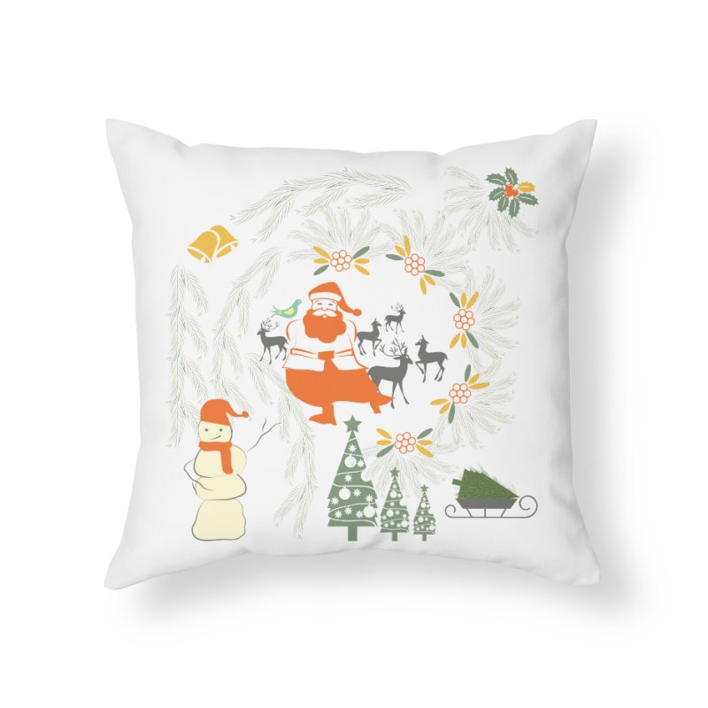 Joyous Christmas Home Throw Pillow by Famenxt