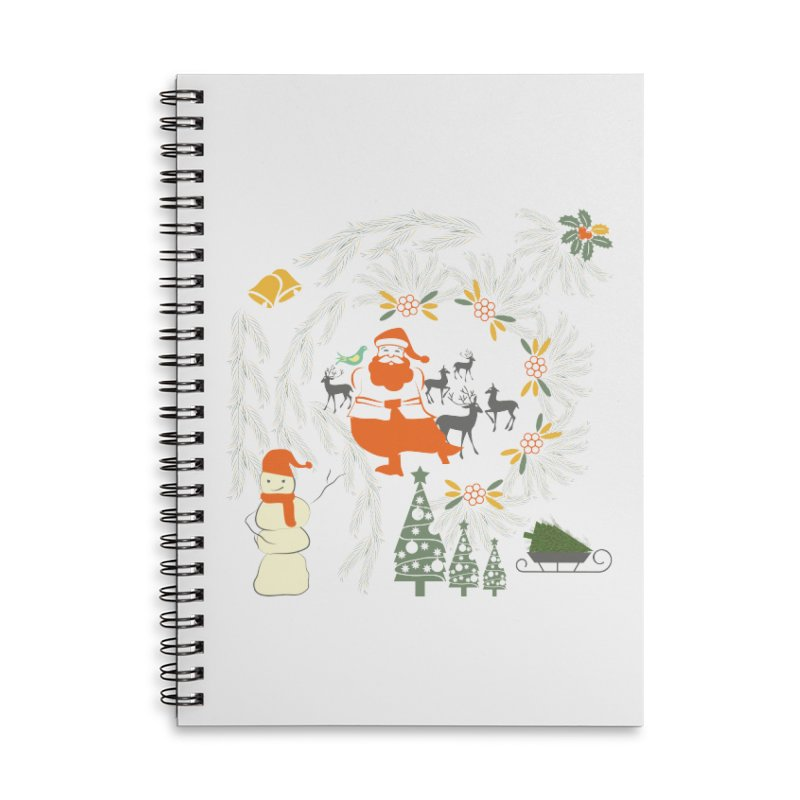 Joyous Christmas Accessories Lined Spiral Notebook by Famenxt