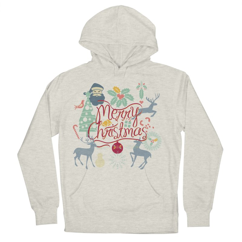 Merry Christmas Men's French Terry Pullover Hoody by Famenxt